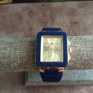 NWOT AUTHENTIC MICHELE NAVY BLUE/GOLD WATCH